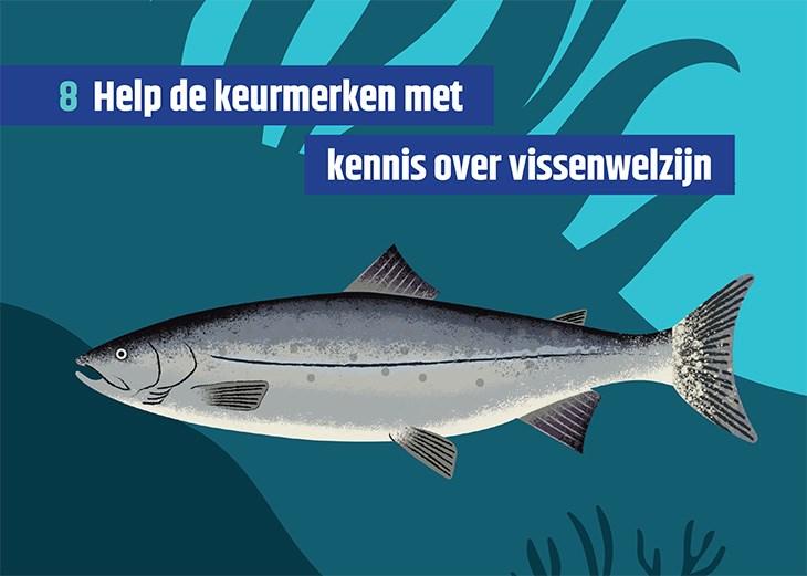 Vissenkaart met de tekst 'Help de keurmerken met kennis over vissenwelzijn'