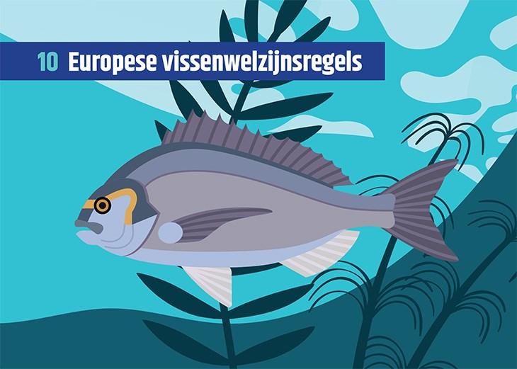 Vissenkaart met daarop de tekst 'Europese vissenwelzijnsregels'