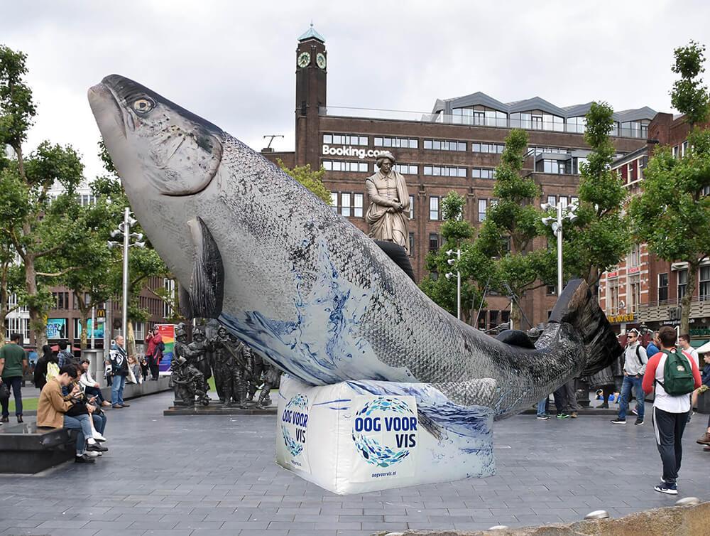 Reusachtige vis op het Rembrandtplein